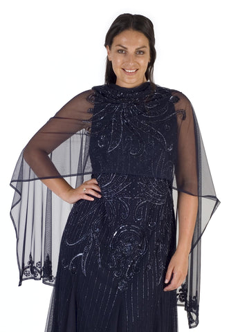 Navy Swirl Beaded Mesh Shawl