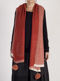 Orange/Red Diamond Design Scarf with Pom Poms