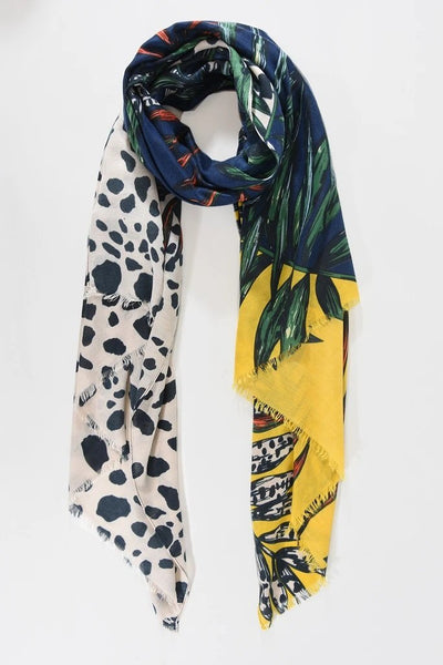 Navy/Mustard Colour Block Dalmatian Spot/Tropical Palm Scarf