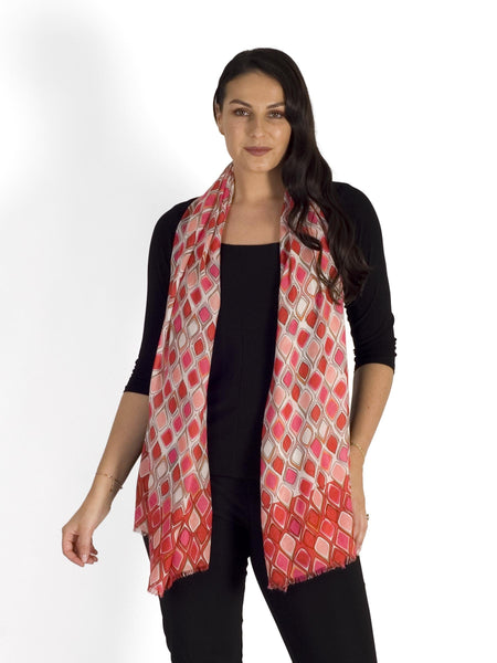 Pink/Red Droplet Print Scarf