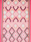 Fuchsia/Orange Abstract Ikat Print with Tasselled Trim