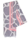 Grey/Pink Abstract Animal Print Scarf