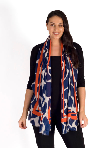 Navy/Orange Abstract Animal Print Scarf
