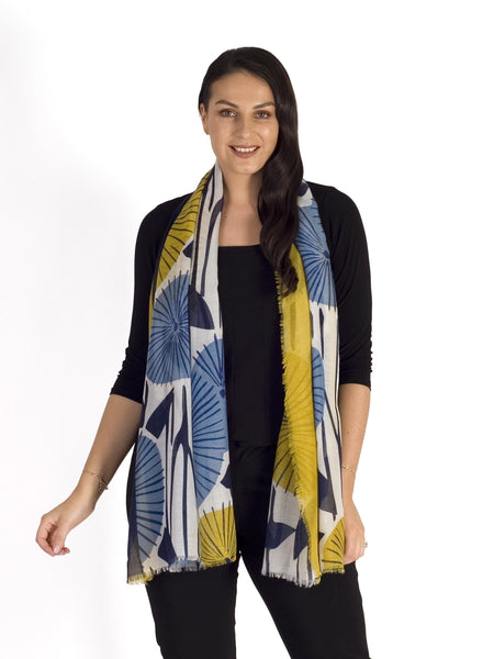 Navy/Mustard Floral Print Scarf