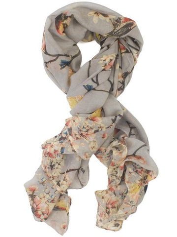 Grey/Multi Coloured Floral Printed Scarf