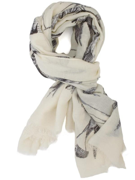Black/White Bird Print Scarf