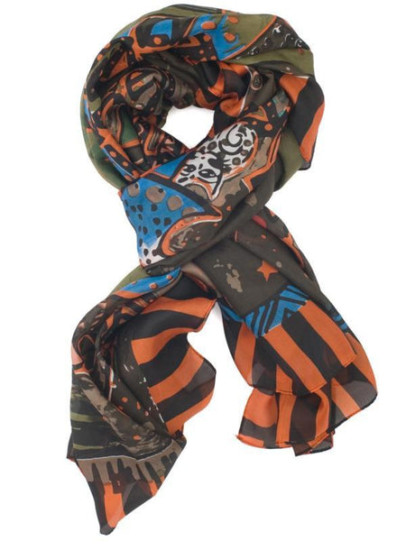 Orange/Green Ethnic Inspired Print Scarf
