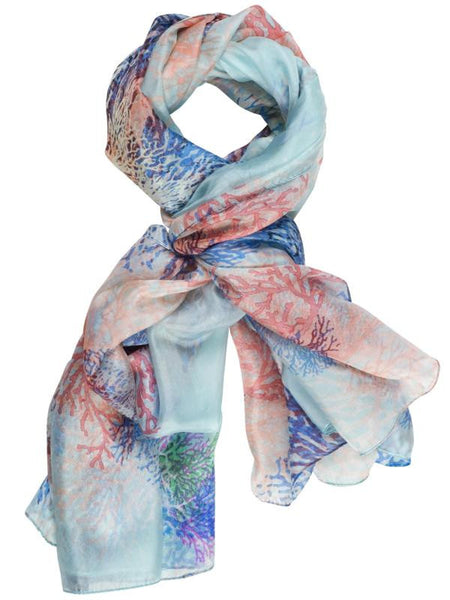 Blue Multi Coloured Branch Printed Scarf