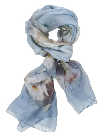 Blue Butterfly Floral Printed Scarf