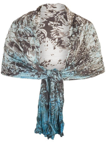 Ivory/Turquoise Printed Ombre Crush Pleat Shawl