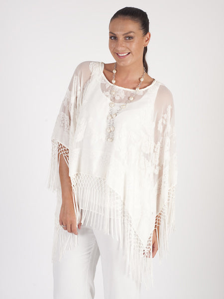 Cream Pure Silk and Velvet Devore Fringed Poncho