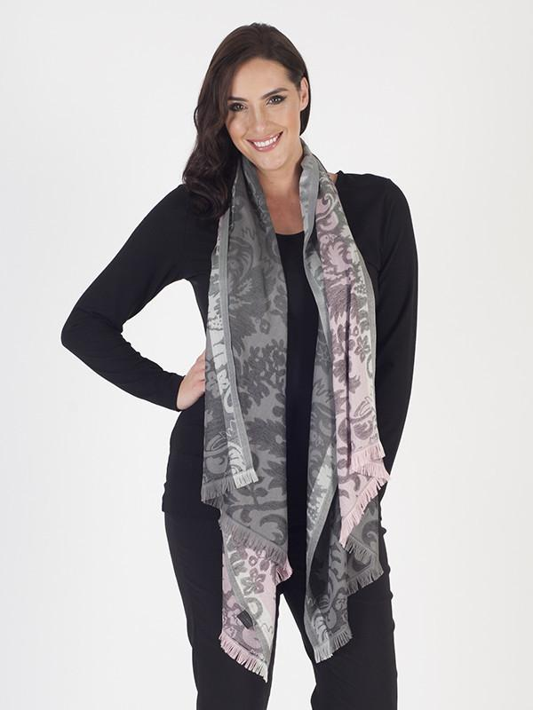 Chesca Direct Flavia Scarf Patterned Scarf with Frayed Hem