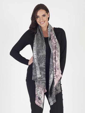 Flavia Scarf Patterned Scarf with Frayed Hem