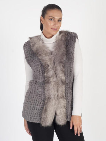 Grey Knitted Faux Fur Gilet with Fur Trim