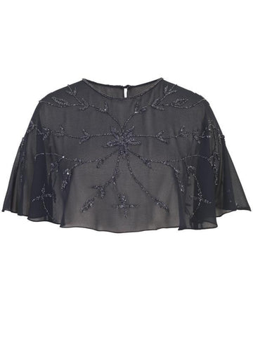 Navy Allover Beaded Cape