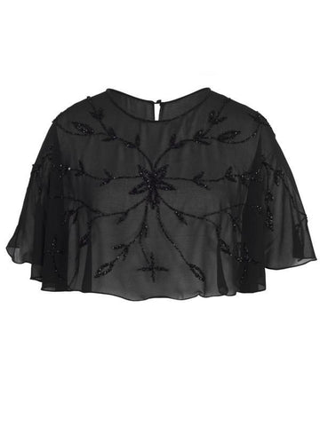 Black Allover Beaded Cape