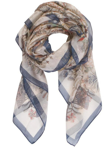 Ivory/Blue Butterfly and Leaf Printed Scarf