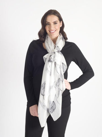 Grey Abstract Printed Scarf