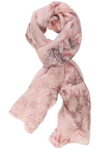Pink Branch and Rose Printed Scarf