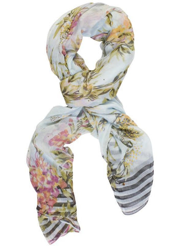 Light Blue/Pink Printed Scarf