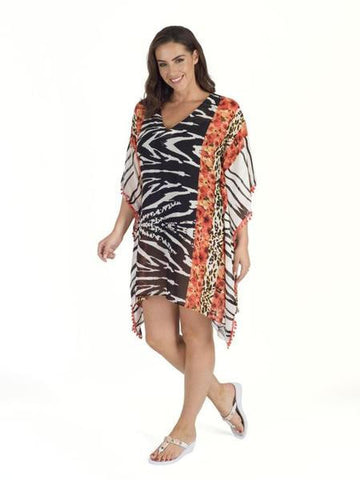 Black/White/Coral Zebra Printed Cover Up