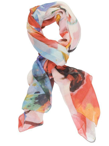White/Orange Abstract Printed Scarf