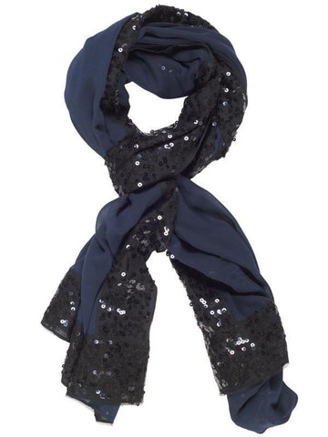Navy Chiffon and Sequin Detail Scarf