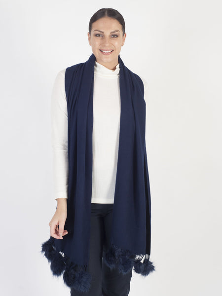 Navy Scarf with Fur Pom Pom Fringing