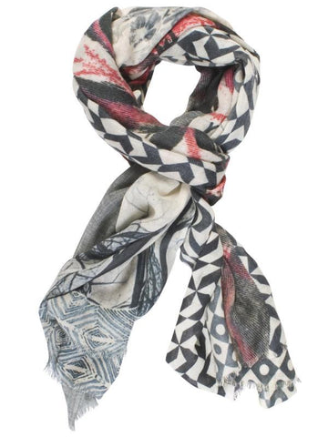Pink Swirl Abstract Patchwork Scarf