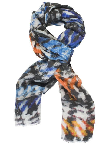 Cobalt/Orange Printed Tartan Wool Scarf