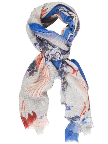 Red/Navy/Grey Bird and Flower Printed Ombré Border Panel Scarf