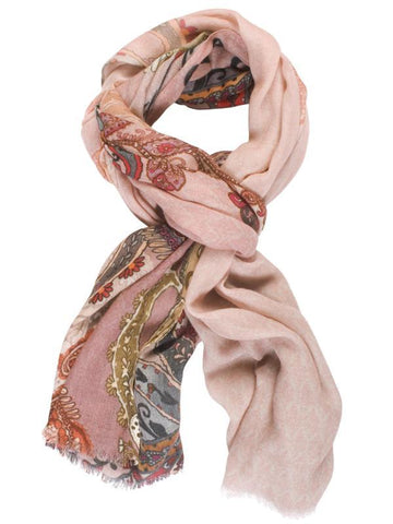 Rose Pink/Shades of Red/Navy Paisley Placement Print Scarf