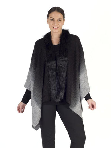 Black Faux Collar Poncho
