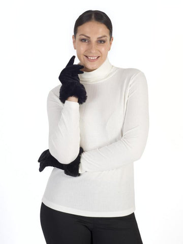 Black Velvet Glove with Fur Cuff
