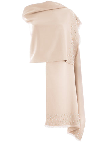 Blush Pearl Pashmina With Diamond Studs