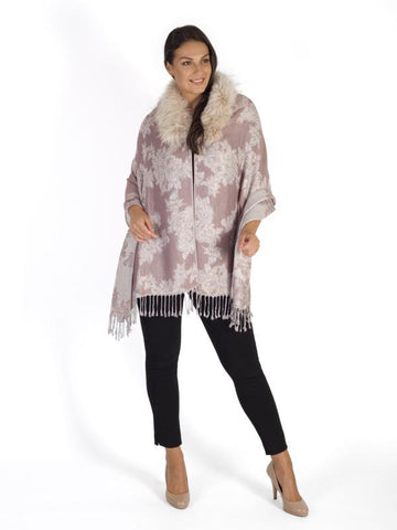 Blush Jacquard Design Scarf With Fur Edge