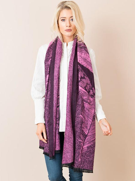 Plum Feather Placement Scarf