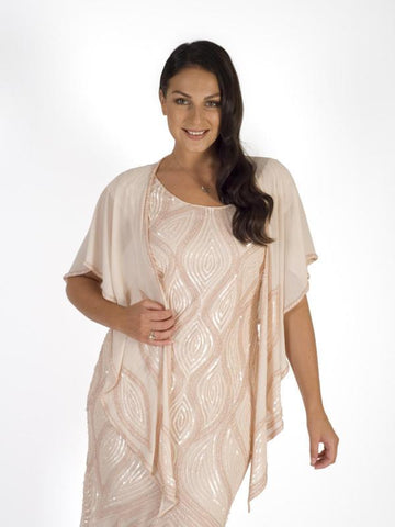Blush Zig-Zag Bead Trim Shawl With Motif