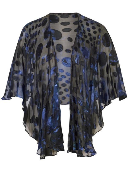 Midnight Abstract Oval Spot Satin Devoree Shawl