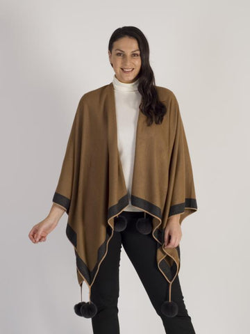Mocha/Grey Reversible Wrap With Faux Fur Pom-Poms