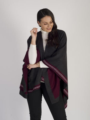 Burgundy/Grey Reversible Wrap With Pearl Border