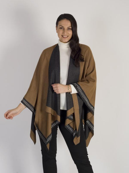 Mocha/Grey Reversible Wrap With Pearl Border