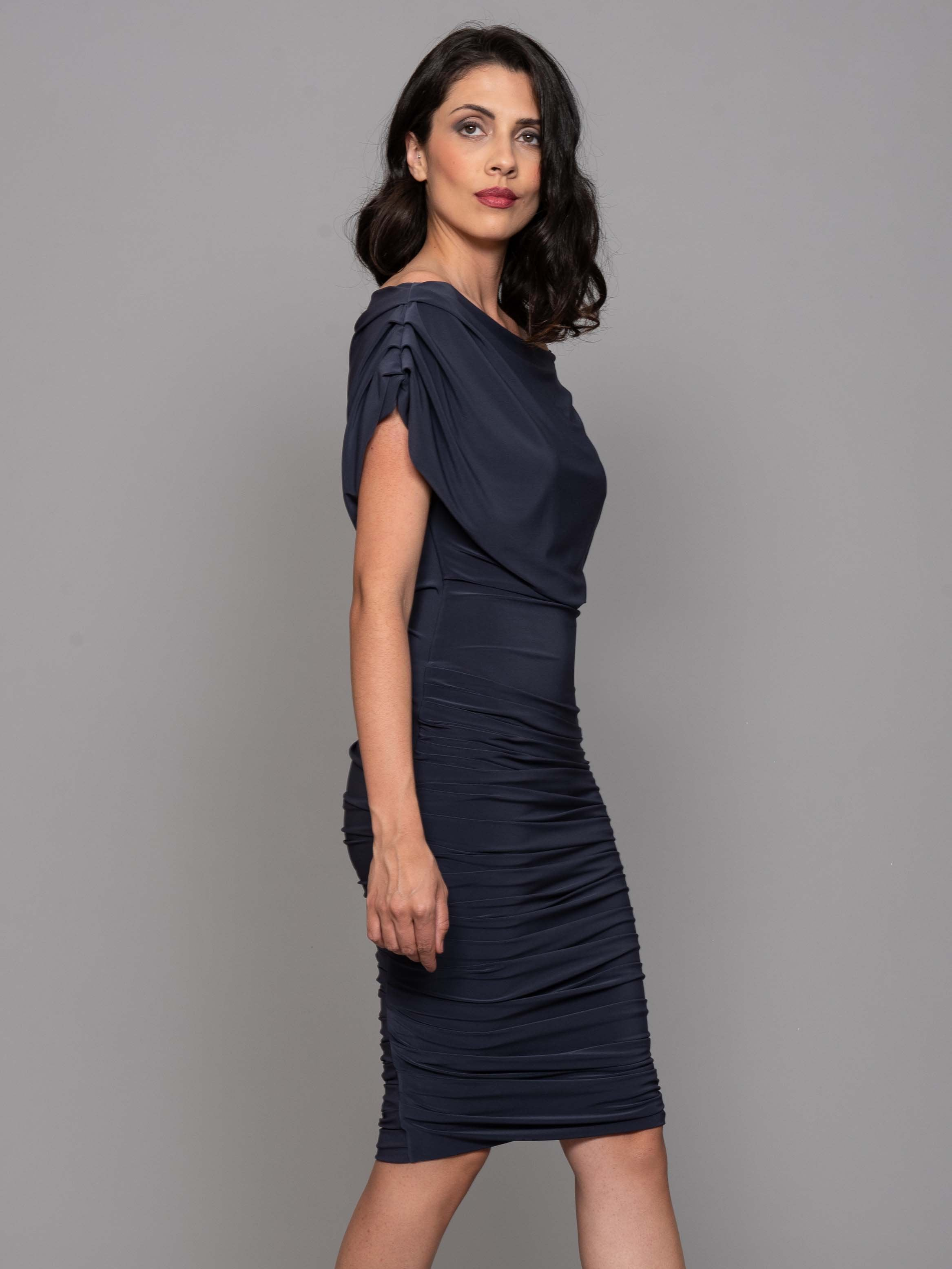 Franchesca Slate Grey Ruched Dress