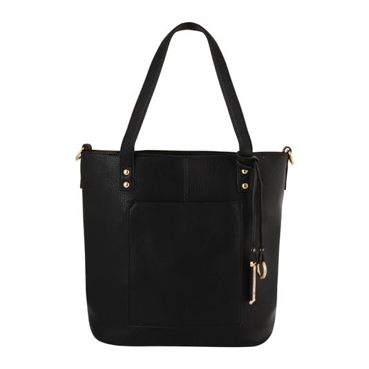 Black PU Medium Handbag