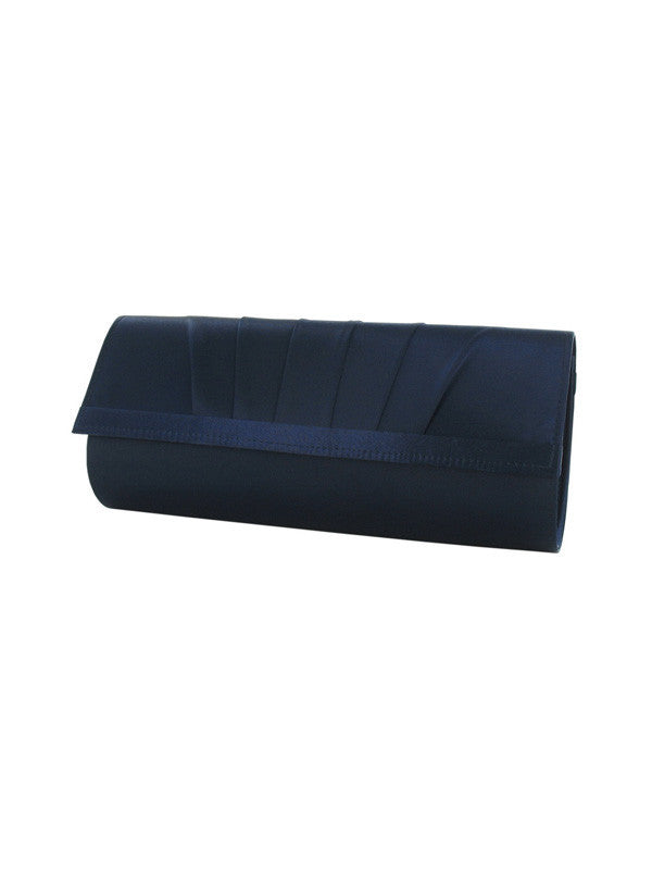 Navy Satin Pleated 'Nina' Clutch Bag