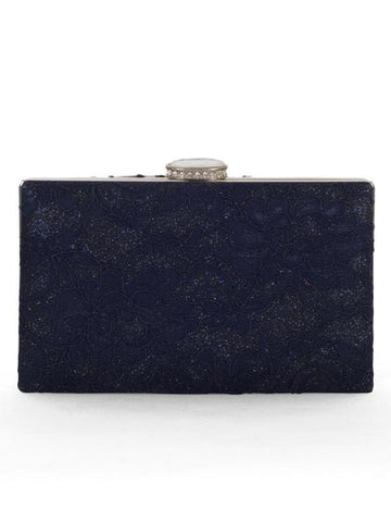 Navy Floral Lace Clutch Bag
