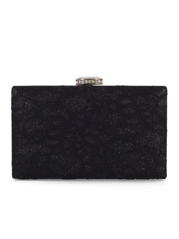 Black Floral Lace Clutch Bag