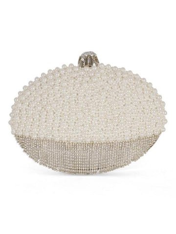 Ivory Pearl and Diamanté Detail Oval Clutch