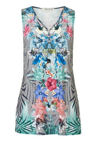 Betty Barclay Grey Tropical Floral Print Tunic