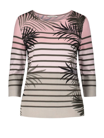 Betty Barclay Khaki/Rose Stripe & Leaf Print Jumper